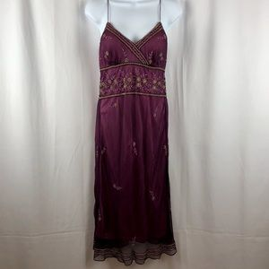 Marina Silk embellished sheer overlay midi dress 4